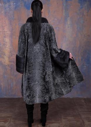 Шуба-пальто каракульча элита платина и аукционная норка ирис! италия!эксклюзив!5 фото