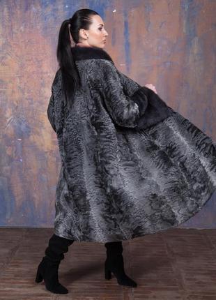 Шуба-пальто каракульча элита платина и аукционная норка ирис! италия!эксклюзив!6 фото