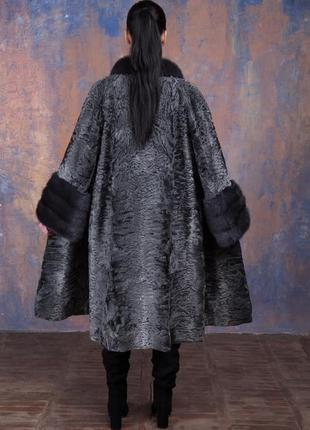 Шуба-пальто каракульча элита платина и аукционная норка ирис! италия!эксклюзив!7 фото