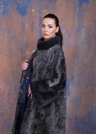 Шуба-пальто каракульча элита платина и аукционная норка ирис! италия!эксклюзив!
