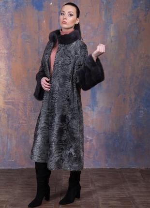Шуба-пальто каракульча элита платина и аукционная норка ирис! италия!эксклюзив!8 фото