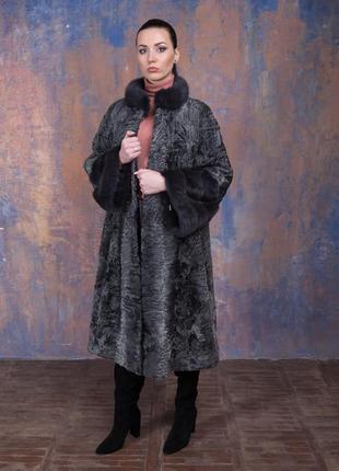 Шуба-пальто каракульча элита платина и аукционная норка ирис! италия!эксклюзив!2 фото
