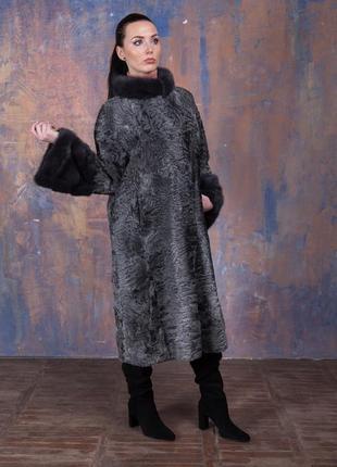 Шуба-пальто каракульча элита платина и аукционная норка ирис! италия!эксклюзив!9 фото