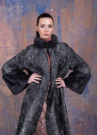 Шуба-пальто каракульча элита платина и аукционная норка ирис! италия!эксклюзив!1 фото