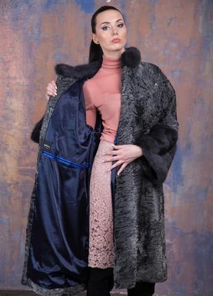 Шуба-пальто каракульча элита платина и аукционная норка ирис! италия!эксклюзив!10 фото