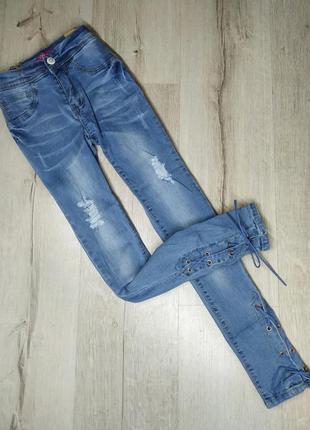 Подростковые джинсы скинни для девочки 140-170, детские джинсы с шнуровкой
