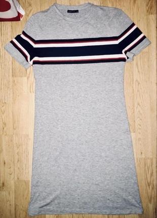 Платье bershka лапша рубчик серое спортивное футболка