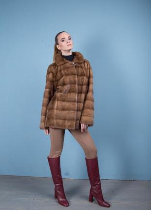 Норковая шуба италия поперечный крой цвет соболь аукционная saga furs3 фото