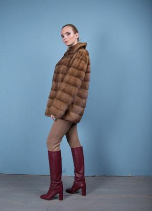 Норковая шуба италия поперечный крой цвет соболь аукционная saga furs4 фото