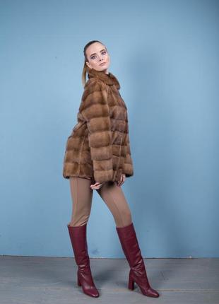 Норковая шуба италия поперечный крой цвет соболь аукционная saga furs6 фото