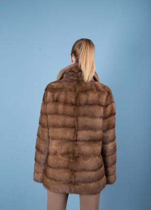 Норковая шуба италия поперечный крой цвет соболь аукционная saga furs7 фото