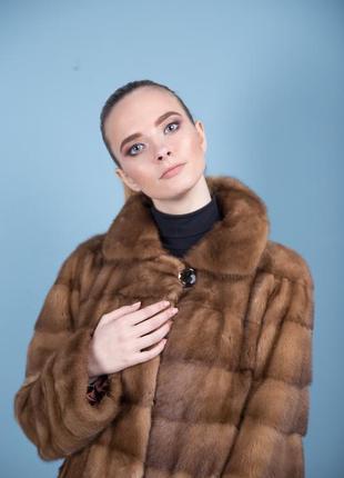 Норковая шуба италия поперечный крой цвет соболь аукционная saga furs1 фото
