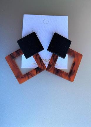 Cережки геометрические в стиле zara / квадратные леопардовые cерьги ретро из пластика