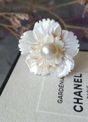 Перламутр кольцо цветок жемчуг резное объемное бохо этно винтажный богемный стиль