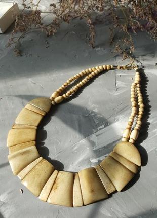 Колье винтажное из кости ожерелье подвески