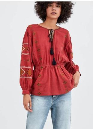 Блуза в стиле вышиванки zara, размер xs