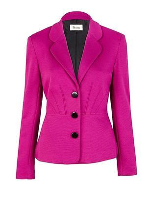 Брендовый розовый пиджак жакет блейзер precis шерсть вискоза этикетка