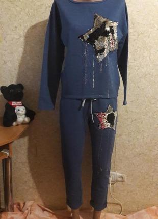 Суперский костюм с двухсторонней паеткой джинсового цвета