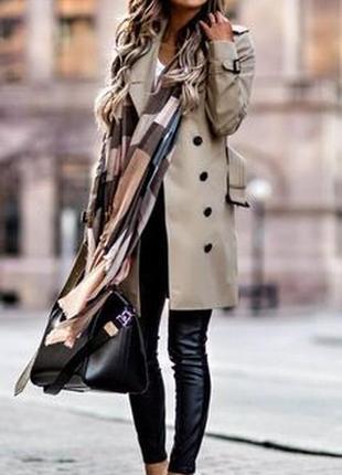 Брендовый плащ тренч с кожаными вставками inspire new look большой размер этикетка