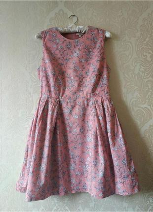 Платье в цветочный принт с замочком на спине