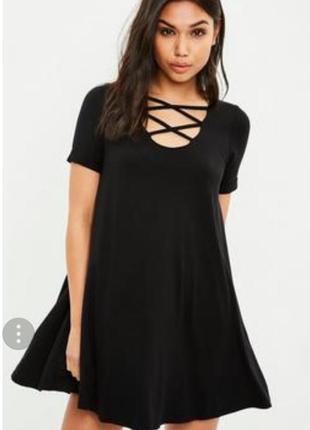 Черное свободное платье футболка мини