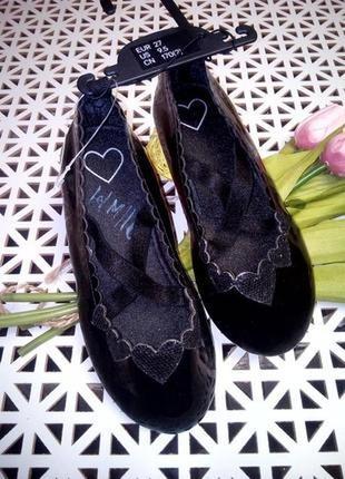 Угольно- чёрные лаковые туфли, балетки, h&m