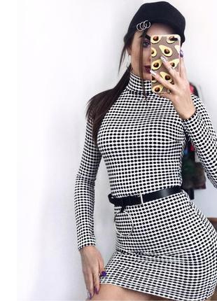 Розпродаж !красиве вафельне плаття по фігурі платье чёрное белое на худышку xs xxs