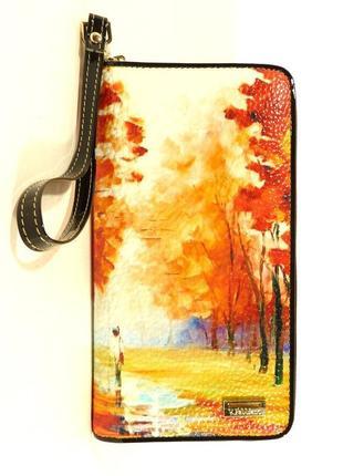 Кошелек кожаный женский на молнии осень