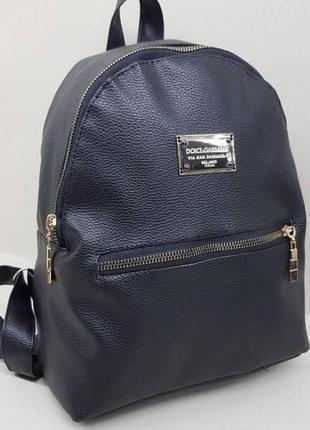 Городской среднего размера черный рюкзак из экокожи