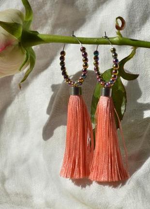 Розовые серьги - кисти с гематитом ′солнце в волосах′