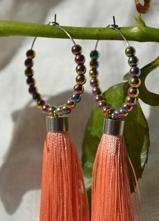 Розовые серьги - кисти с гематитом ′солнце в волосах′4 фото
