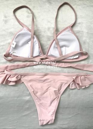 Шикарный нежно- розовый купальник бикини с рюшами с воланами😍 цвета в наличии!5 фото