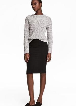 Стильная черная плотная миди юбка-карандаш m-l