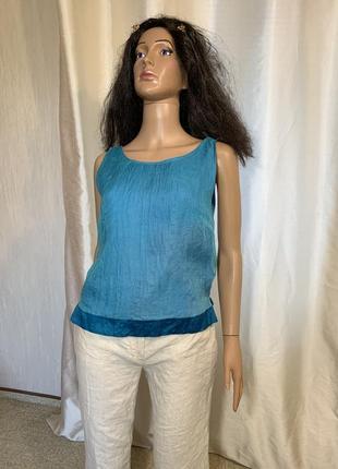 Сочная бирюза шелковая блуза натуральный шелк 100% подклада шелк2 фото