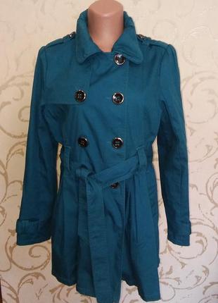 Пальто плащ куртка бирюзового цвета от m&spenser 16