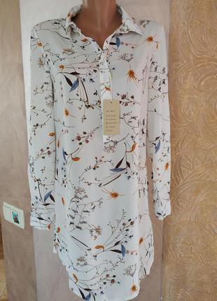 Стильное платье-рубашка в цветочный принт бесплатная доставка