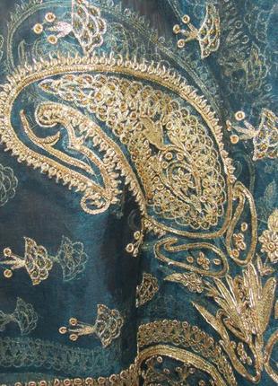 Роскошный шарф шаль палантин парео накидка расшитая золотыми нитями. сказка востока!4 фото