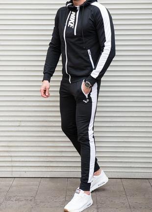 Мужской спортивный костюм 2 молнии, черный