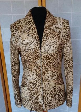 Жакет пиджак кожаный леопардовый