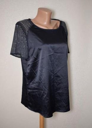 Шелковая блуза со стразами на рукавах dorothy perkins, размер л
