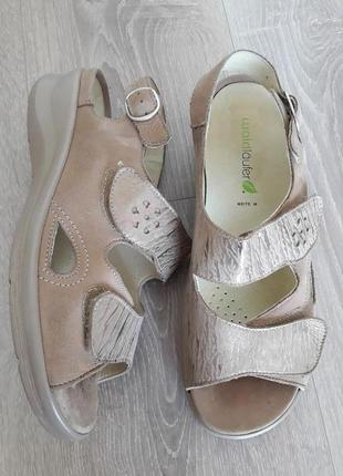 Шкіряні німецькі сандалі на широку ногу від waldlaufer