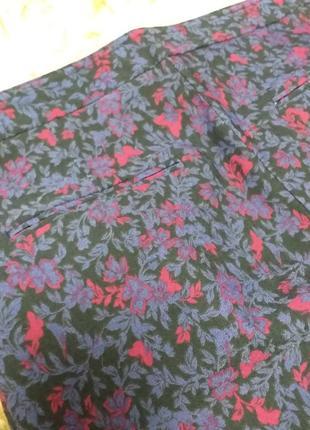 Узкие брюки дудочки в цветочный принт7 фото