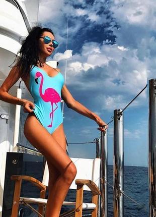 Сплошной купальник с принтом фламинго 65