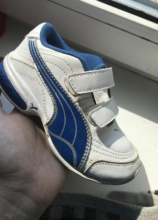 Кроссовки кожаные детские puma былые с синим