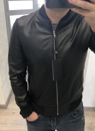 Куртка кожаная мужская 100% кожа черная