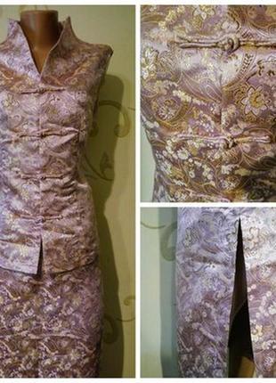 Роскошный летний костюм - юбка полюс жакет безрукавка жилет
