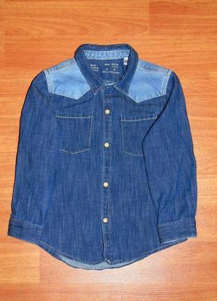 Джинсовая рубашка zara,зара,92,18-24 мес.,1,5-2 года