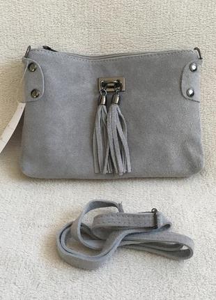 Замшевый серый клатч tianna италия разные цвета