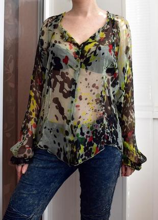 M- vip – one step – франция! люксовая шелковая блузка – новая