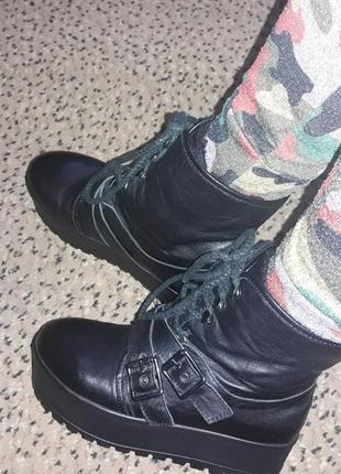 Кожаные ботинки боты ботики на платформе демисезон
